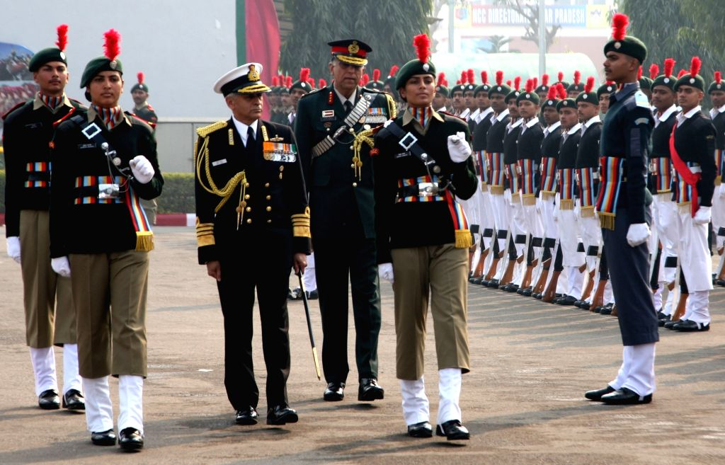 Navy chief Admiral Sunil Lanba visits NCC Republic Day Camp at Delhi Cantonment in New Delhi, on Jan 16, 2017.