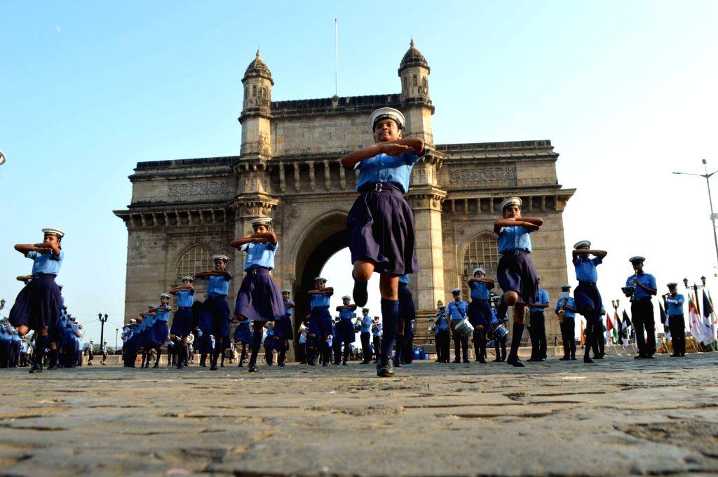 Navy Day rehearsals underway at Gateway of India in Mumbai, on Nov 27, 2017.