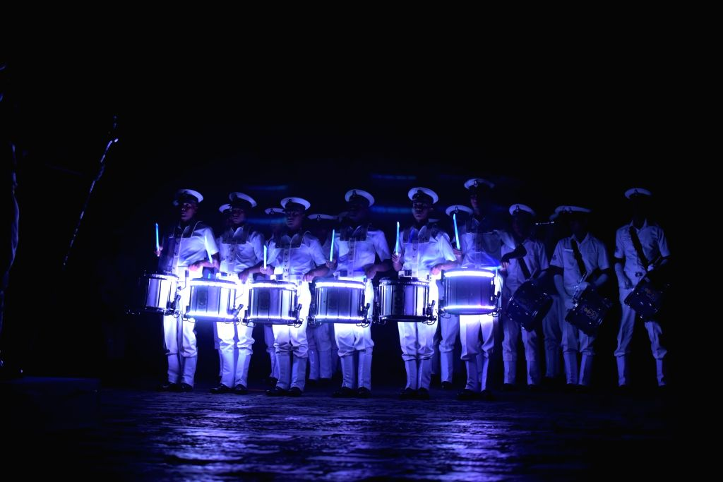 Navy personnel rehearse for the Beating Retreat ceremony ahead of Navy Day at Gateway of India in Mumbai on Dec 3, 2018.