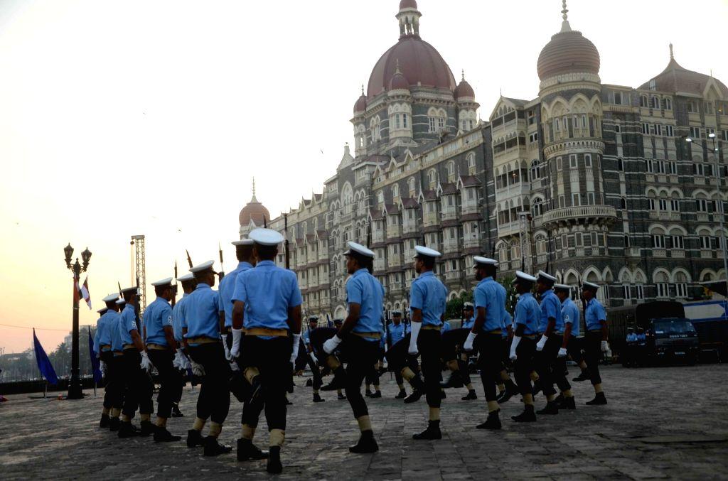 Navymen rehearse for Navy Day celebrations in Mumbai, on Nov 30, 2016.