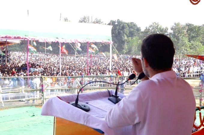 Nawada: Congress leader Rahul Gandhi addresses a public rally ahead of Bihar Assembly elections, in Nawada on Oct 23, 2020. (Photo: IANS) - Rahul Gandhi