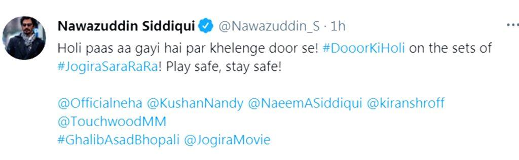 Nawazuddin, Neha Sharma encourage Holi with social distancing (credit : Nawazuddin Siddiqui/twitter) - Nawazuddin Siddiqui and Neha Sharma