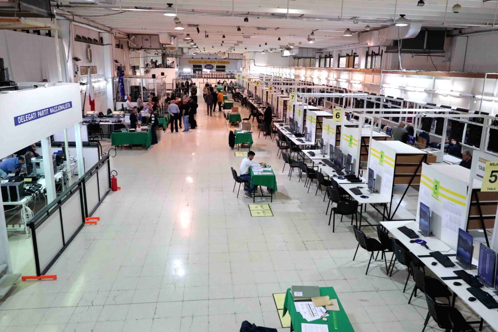 NAXXAR, May 27, 2019 - Polling officials work at a counting hall in Naxxar, Malta, on May 26, 2019. In Malta, polls closed after 10 p.m. local time (2000 GMT) on May 25, 2019 with 41 candidates ...