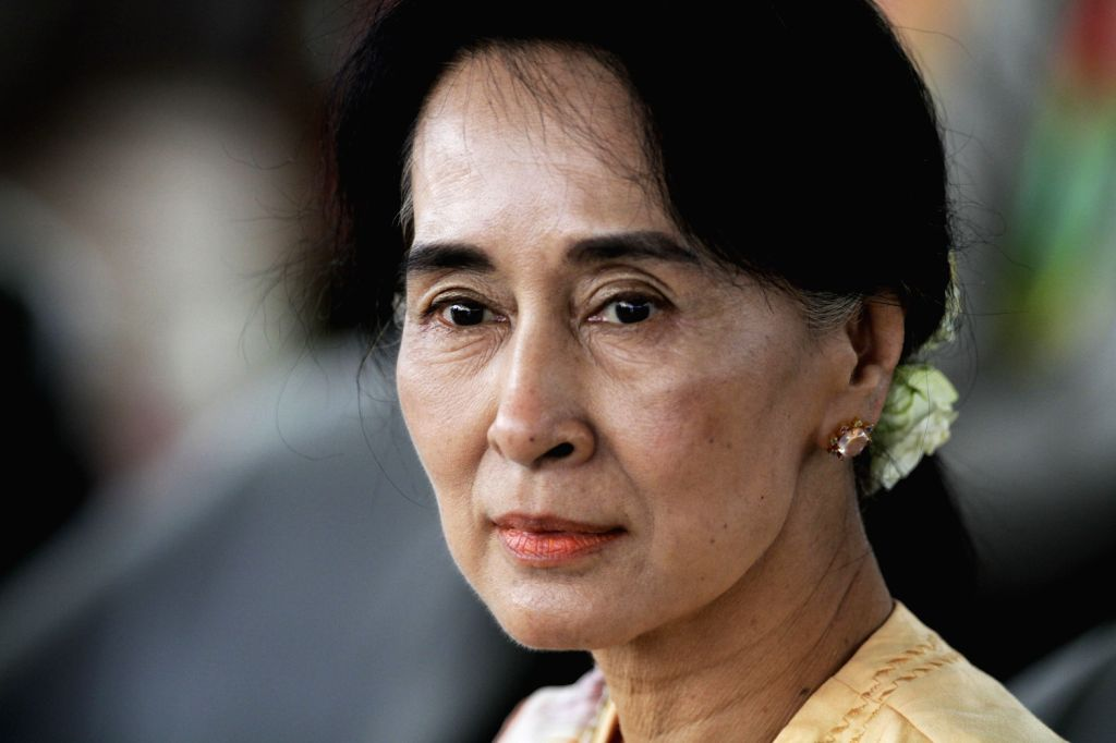 Aung San Suu Kyi, leader of Myanmar's National League for Democracy (NLD), attends awarding ceremony of Equestrian Dressage Team competition at the ...