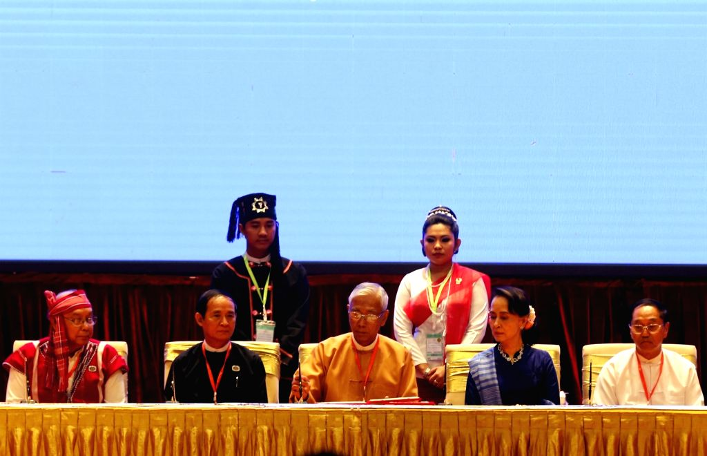 NAY PYI TAW, Feb. 13, 2018 - Myanmar's President U Htin Kyaw (C) and Myanmar's State Counselor Aung San Suu Kyi (2nd R) attend the signing ceremony of Nationwide Ceasefire Accord at the Myanmar ...