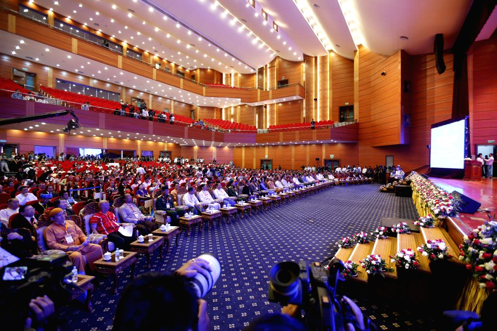 NAY PYI TAW, Feb. 13, 2018 - Photo taken on Feb. 13, 2018 shows  the signing ceremony of Nationwide Ceasefire Accord at the Myanmar International Convention Center (MICC) in Nay Pyi Taw, Myanmar, ...