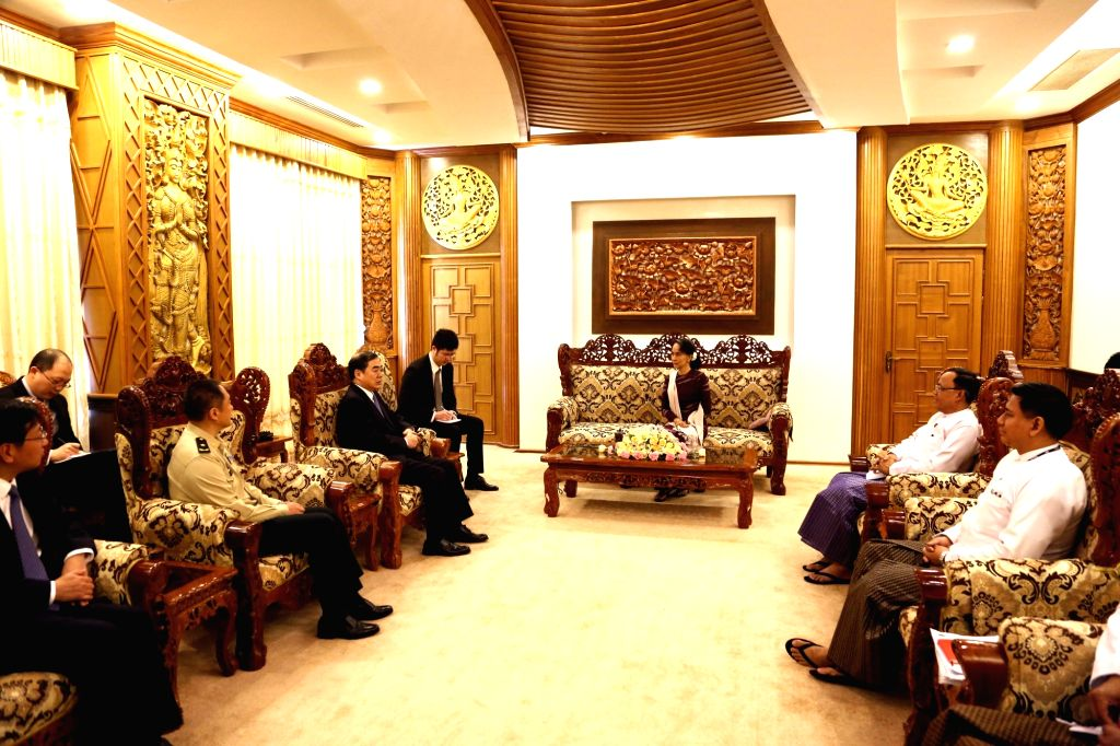 NAY PYI TAW, Jan. 17, 2018 - Myanmar State Counselor Aung San Suu Kyi (C) meets with Chinese Vice Foreign Minister Kong Xuanyou and Deputy Chief of the Joint Staff Department of the Central Military ... - Kong Xuanyou