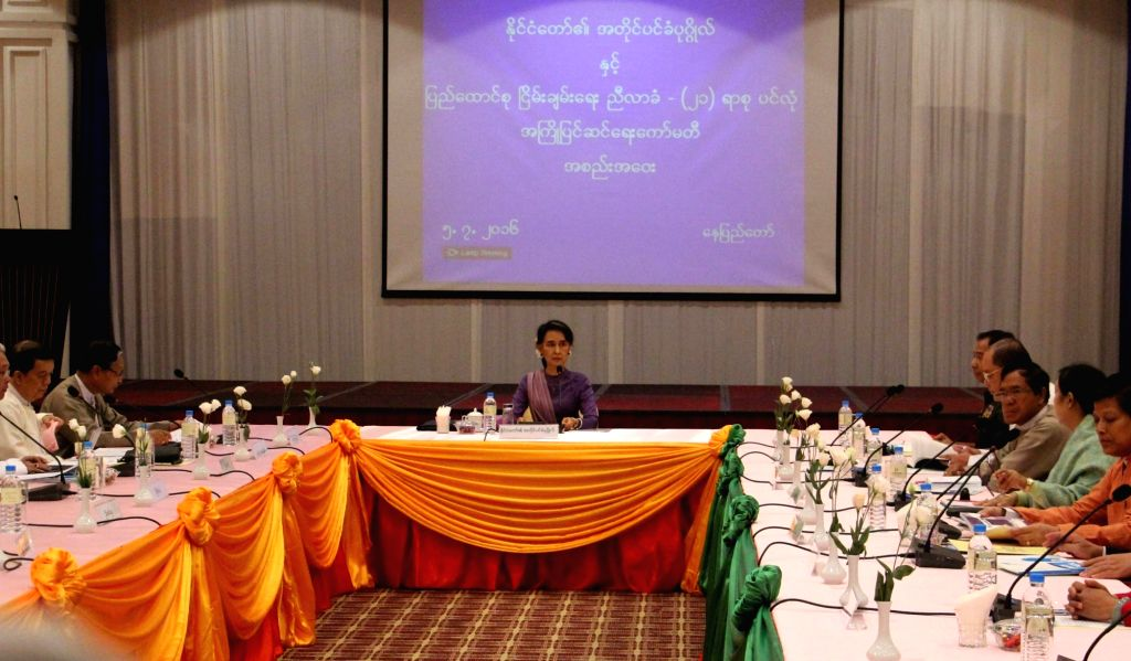 NAY PYI TAW, July 5, 2016 - Myanmar State Counselor Aung San Suu Kyi (C) attends the meeting of Union Peace Dialogue Joint Committee (UPDJC) for ceasefire in Nay Pyi Taw, Myanmar, July 5, 2016. ...