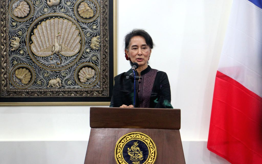 NAY PYI TAW, June 17, 2016 - Myanmar's State Counselor and Foreign Minister Aung San Suu Kyi speaks during a joint press conference with French Minister for Foreign Affairs and International ... - Aung San Suu Kyi