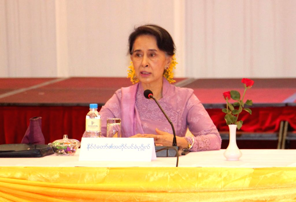 NAY PYI TAW, June 28, 2016 - Myanmar State Counselor Aung San Suu Kyi (C) speaks at a meeting of the Peace Process Steering Team (PPST) for Ceasefire in Nay Pyi Taw, Myanmar, June 28, 2016.