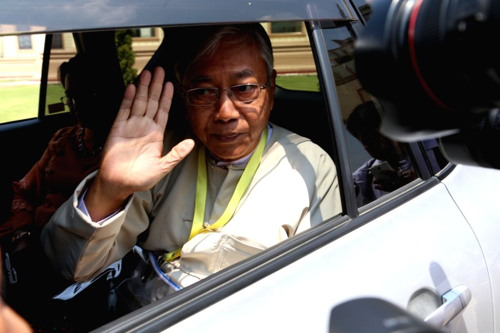 NAY PYI TAW, March 21, 2018 - Photo taken on March 15, 2016 shows U Htin Kyaw waves to media after he was elected as president of Myanmar, in Nay Pyi Taw, Myanmar. Myanmar President U Htin Kyaw has ...