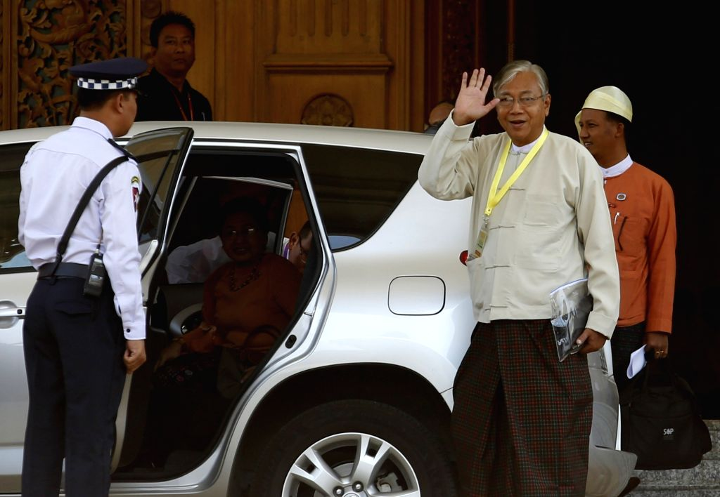NAY PYI TAW, March 21, 2018 - Photo taken on March 15, 2016 shows U Htin Kyaw (R, front) waves to media after he was elected as president of Myanmar, in Nay Pyi Taw, Myanmar. Myanmar President U Htin ...