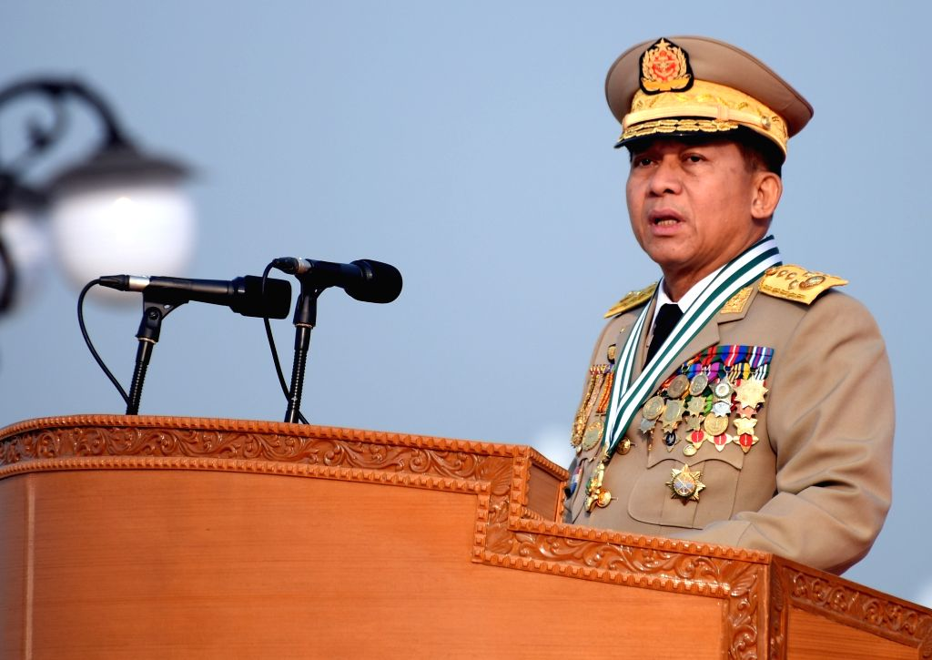 NAY PYI TAW, March 27, 2018 - Commander-in-Chief of Defense Services Sen-Gen Min Aung Hlaing delivers a speech at the parade of 73rd Armed Forces Day in Nay Pyi Taw, Myanmar, March 27, 2018. A ...