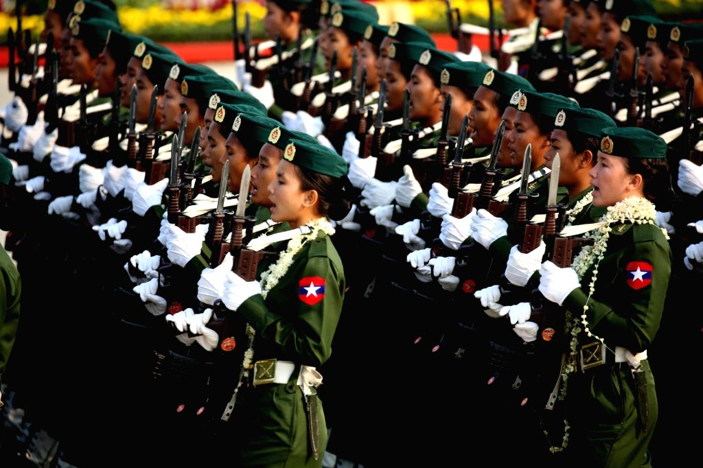 NAY PYI TAW, March 27, 2018 - Soldiers march during the parade of 73rd Armed Forces Day in Nay Pyi Taw, Myanmar, March 27, 2018. A military parade was held on Tuesday in Nay Pyi Taw to mark the ...