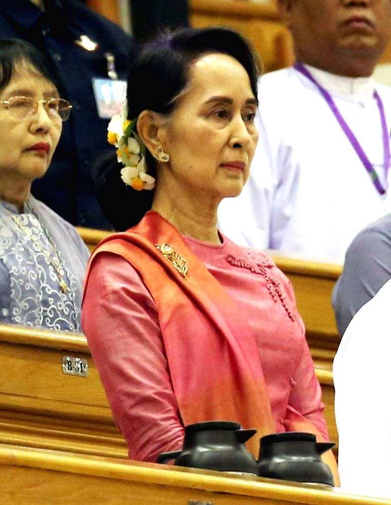 NAY PYI TAW, March 28, 2018 - Myanmar State Counselor Aung San Suu Kyi attends a session of Myanmar Union Parliament in Nay Pyi Taw March 28, 2018. U Win Myint, former speaker of the House of ...