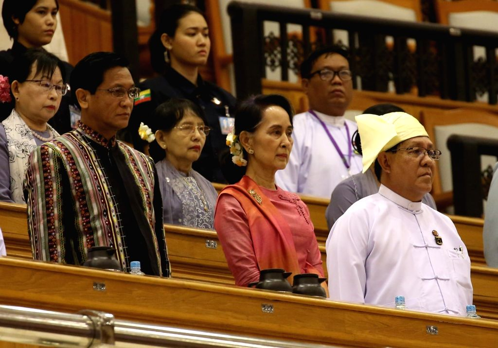 NAY PYI TAW, March 28, 2018 - Myanmar State Counselor Aung San Suu Kyi (2nd R) attends a session of Myanmar Union Parliament in Nay Pyi Taw March 28, 2018. U Win Myint, former speaker of the House of ...