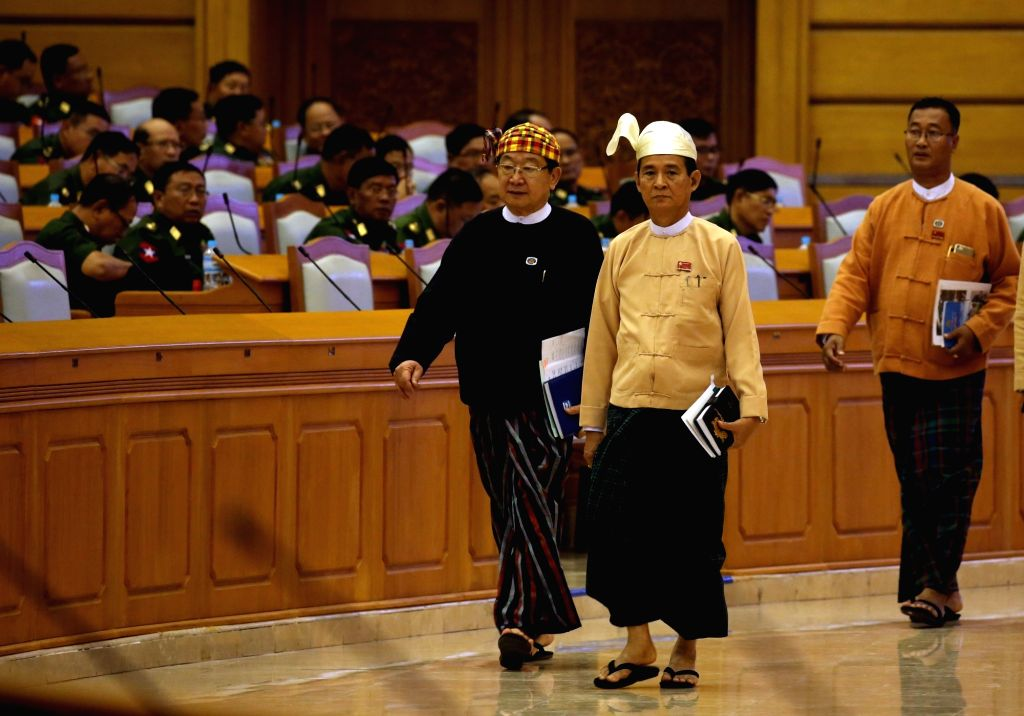 NAY PYI TAW, March 28, 2018 - U Win Myint (R F), former speaker of the House of Representatives (Lower House), attends a session of Myanmar Union Parliament in Nay Pyi Taw, Myanmar, March 28, 2018. U ...