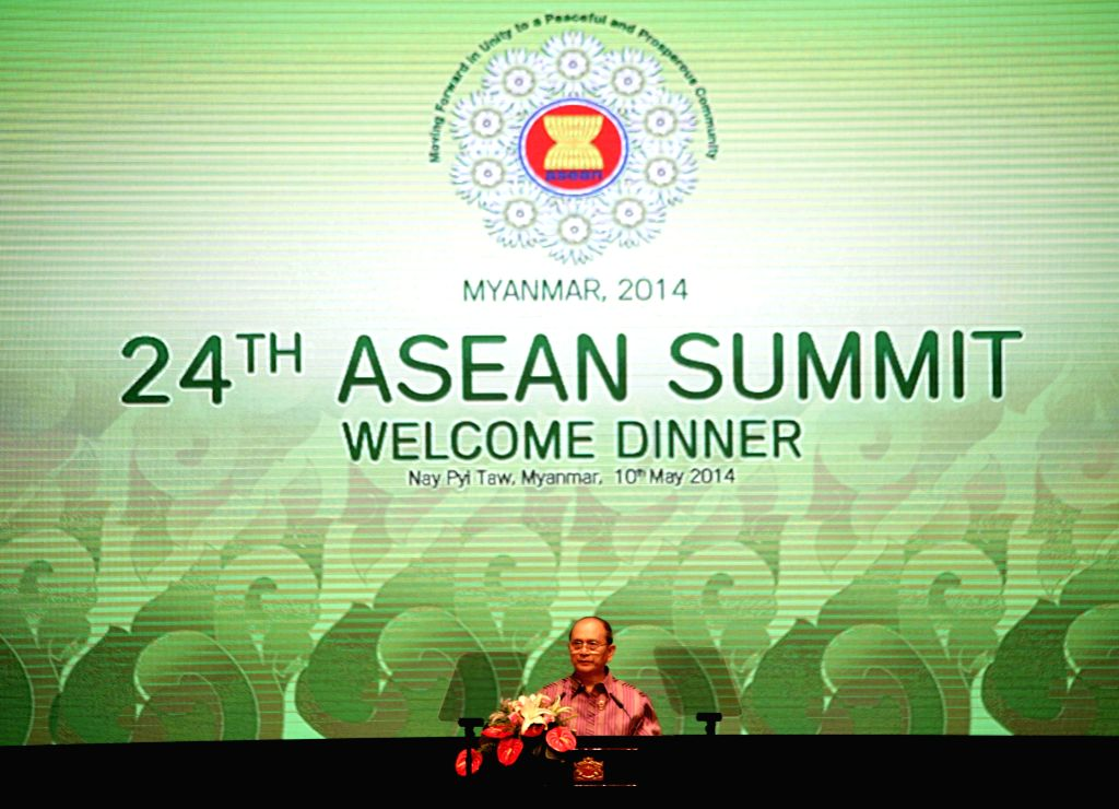 Myanmar President U Thein Sein addresses the 24th ASEAN Summit welcome dinner at the Myanmar International Convention Center in Nay Pyi Taw, Myanmar, May 10, ...