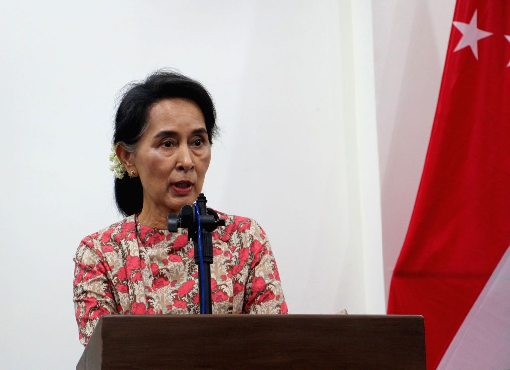 NAY PYI TAW, May 18, 2016 - Myanmar's Foreign Minister Aung San Suu Kyi speaks during a joint press conference with Singapore's Minister for Foreign Affairs Vivian Balakrishnan (unseen) after their ... - Aung San Suu Kyi