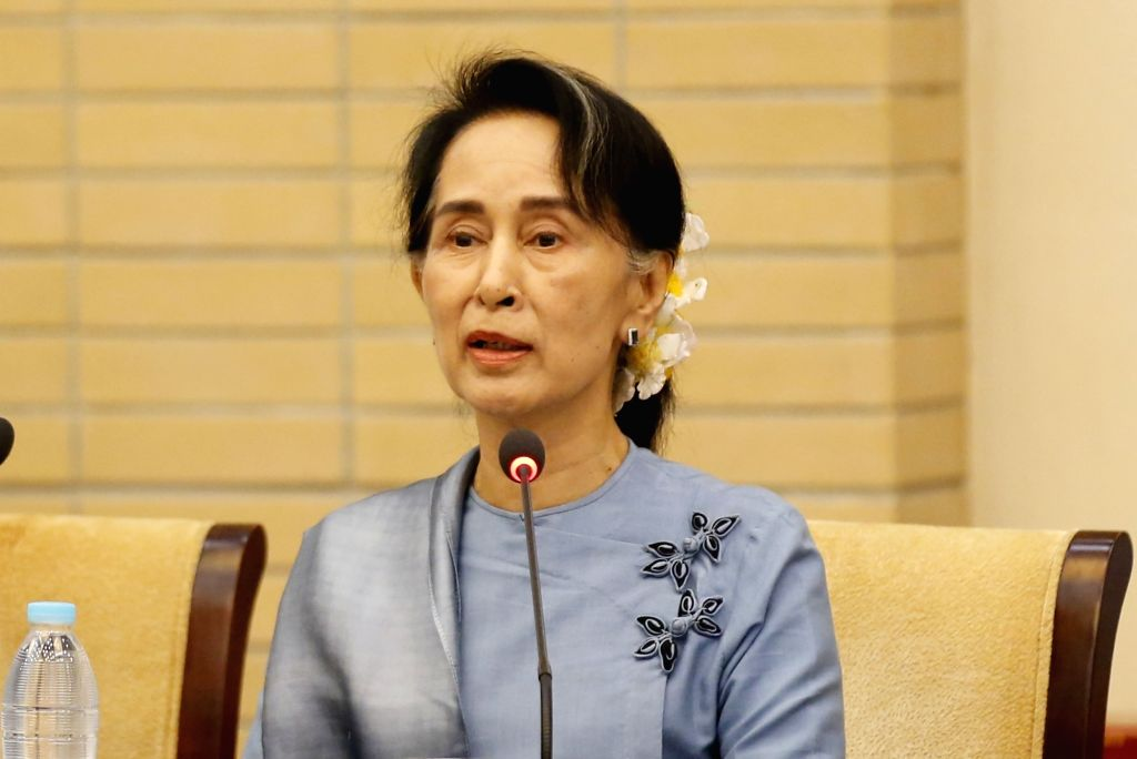 NAY PYI TAW, May 28, 2017 - Myanmar State Counselor Aung San Suu Kyi speaks at the meeting of the Union Peace Dialogue Joint Committee (UPDJC) during the Second Meeting of Myanmar's 21st Century ...