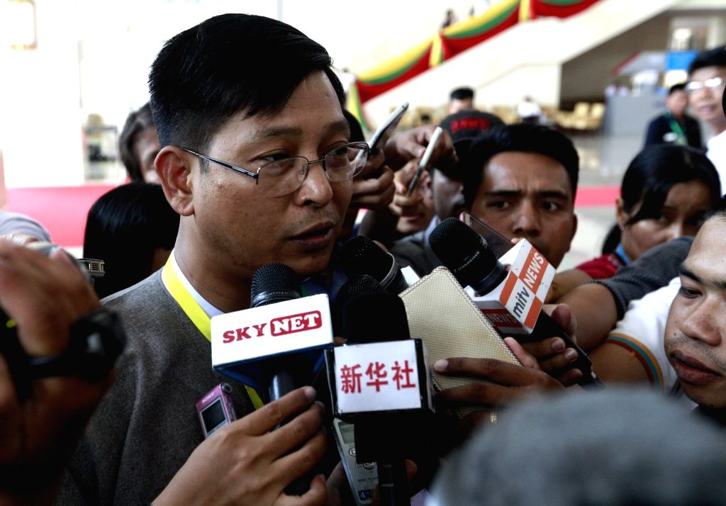 NAY PYI TAW, May 28, 2017 - U Zaw Htay (L), Director-General of the Office of the State Counselor's Office, speaks to media after attending the meeting of the Union Peace Dialogue Joint Committee ...