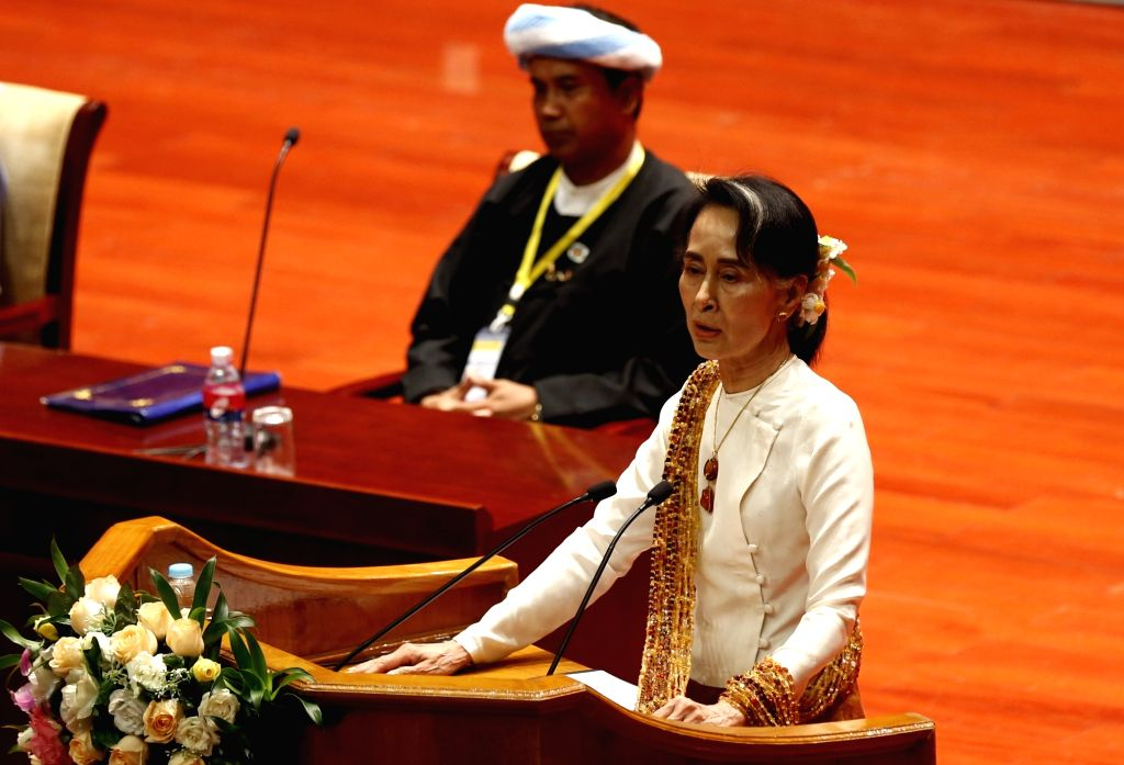 NAY PYI TAW, May 29, 2017 - Myanmar's State Counselor Aung San Suu Kyi (Front) delivers a speech during the closing ceremony of the second meeting of Myanmar's 21st Century Panglong Peace Conference ...
