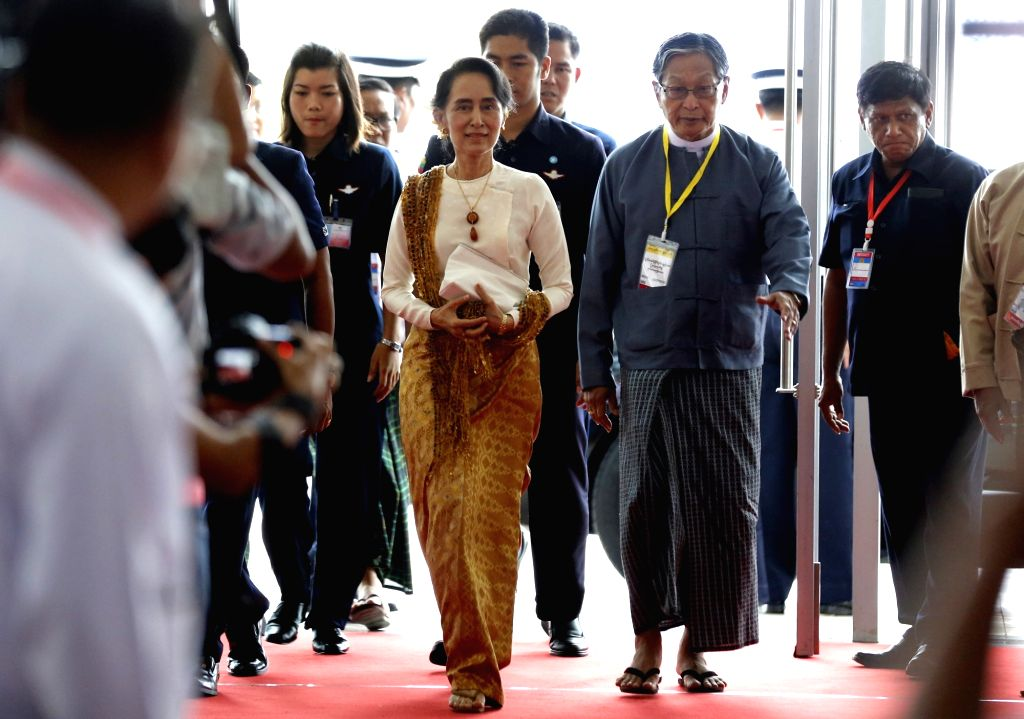 NAY PYI TAW, May 29, 2017 - Myanmar's State Counselor Aung San Suu Kyi (L, front) arrives to attend the closing ceremony of the second meeting of Myanmar's 21st Century Panglong Peace Conference in ...