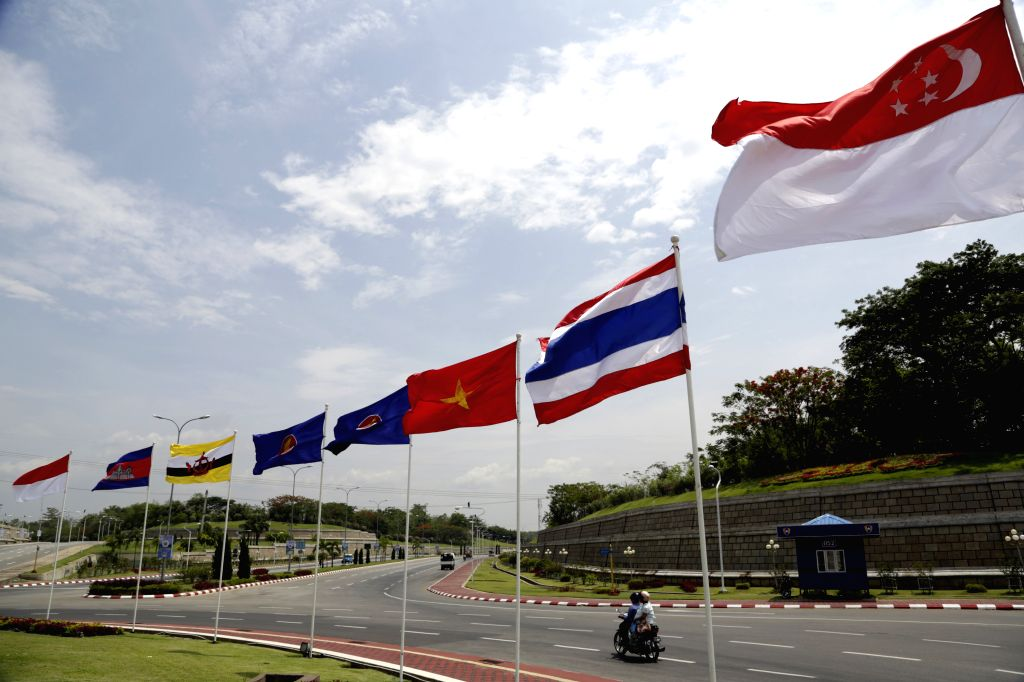 Some of the Association of Southeast Asian Nations (ASEAN) flags fly in the wind in Nay Pyi Taw, Myanmar, May 9, 2014. The 24th ASEAN Summit and its related ...