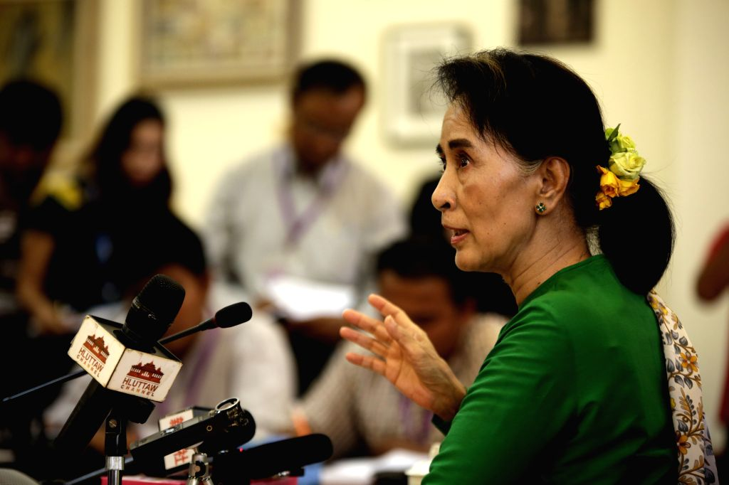 Nay Pyi Taw (Myanmar): Aung San Suu Kyi, leader of Myanmar's National League for Democracy (NLD), speaks to media at a press conference after attending the 11th regular session of the Union ...