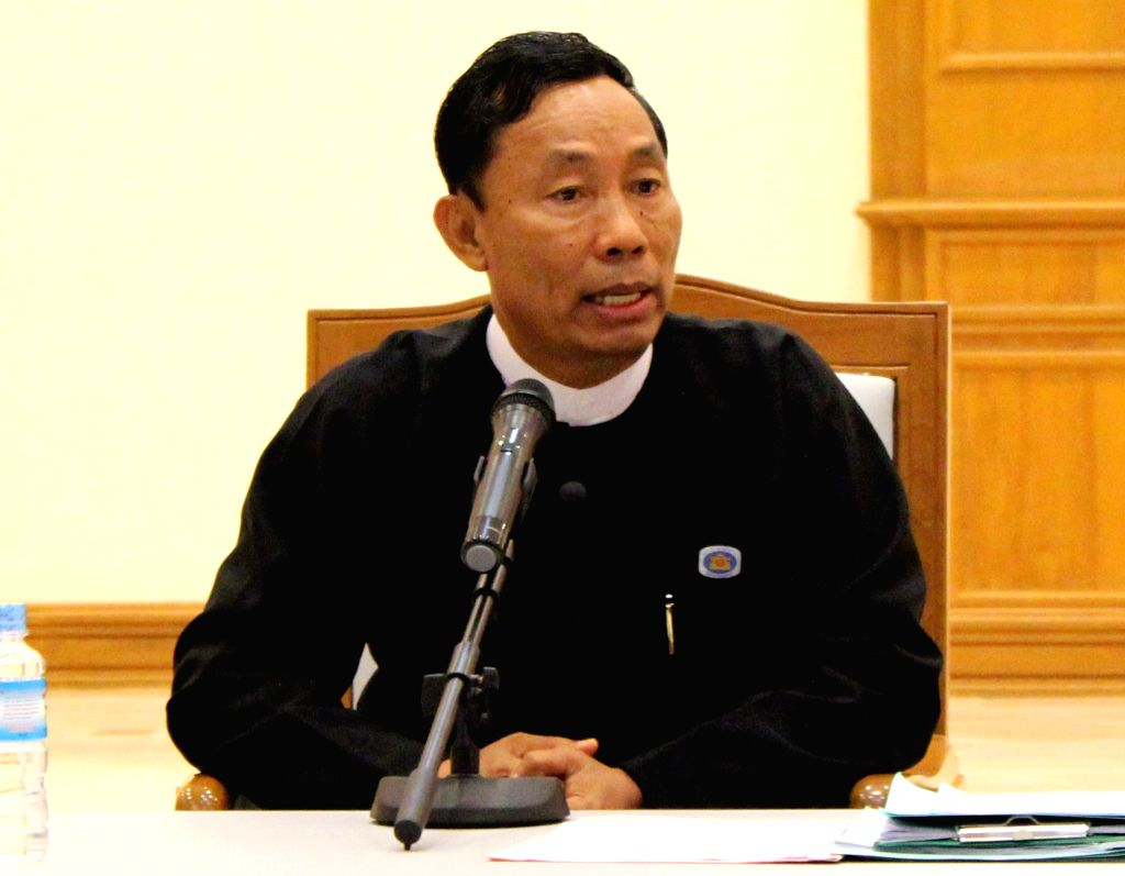 Nay Pyi Taw (Myanmar): Myanmar's Union Parliament speaker U Shwe Mann speaks to media at a press conference in Nay Pyi Taw, Myanmar, Nov. 18, 2014. Myanmar's constitution can only be amended in the ..