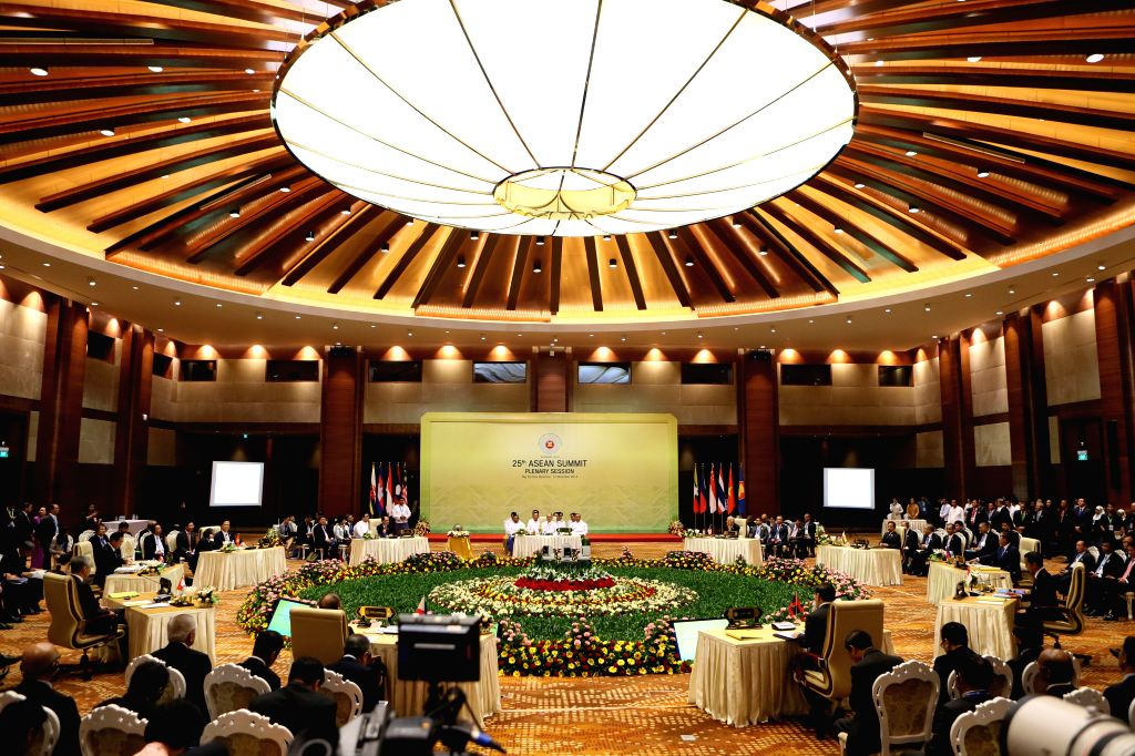 Nay Pyi Taw (Myanmar): The 25th ASEAN summit is held in Nay Pyi Taw, Myanmar, Nov. 12, 2014. ASEAN leaders on Wednesday adopted a declaration on the ASEAN Community's Post-2015 Vision after a plenary