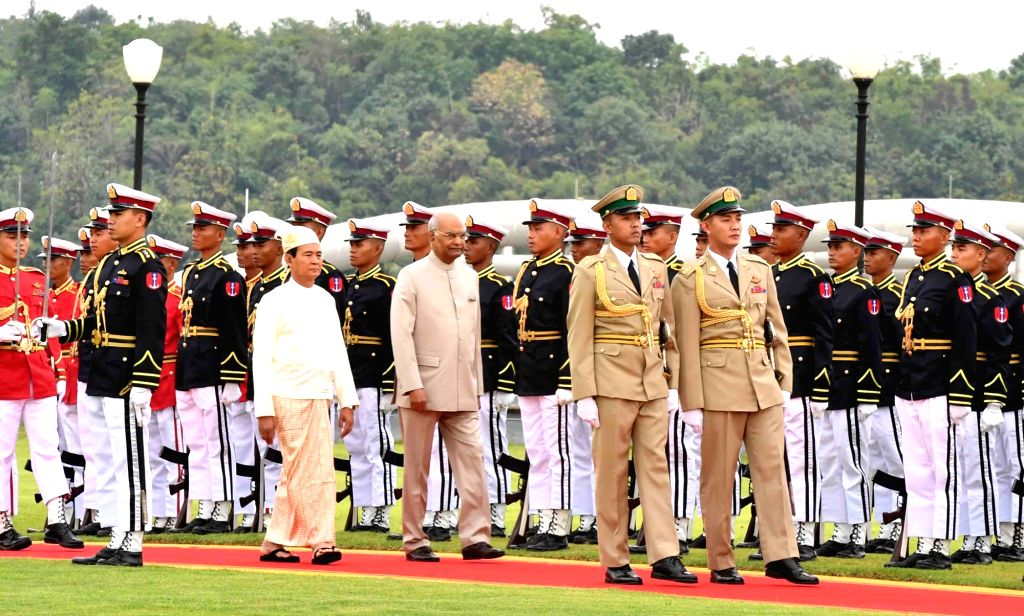 Nay Pyi Taw: Nay Pyi Taw: President Ram Nath Kovind inspects the Guard of Honour during the Ceremonial Reception at Presidential Palace in Nay Pyi Taw, Myanmar on Dec 11, 2018. Also seen Myanmar ... - Nath Kovind