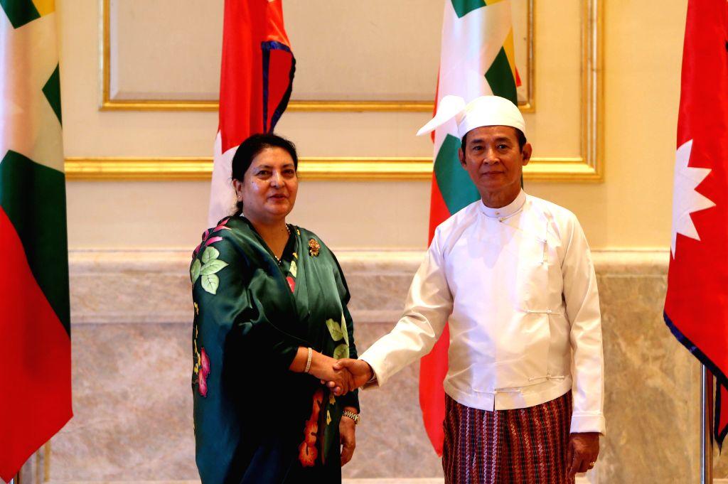 NAY PYI TAW, Oct. 17, 2019 - Myanmar President U Win Myint (R) meets with Nepalese President Bidya Devi Bhandari at the Presidential Palace in Nay Pyi Taw, Myanmar, Oct. 17, 2019. Bhandari arrived ...