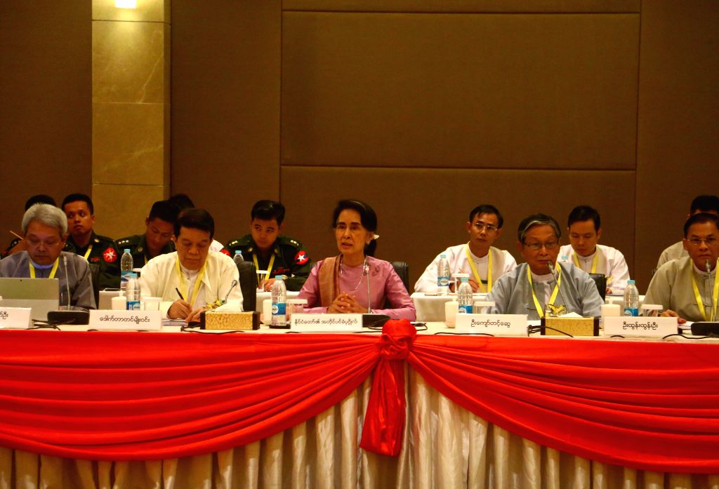 NAY PYI TAW, Oct. 28, 2016 - Myanmar State Counselor Aung San Suu Kyi (C, front) speaks during the first-day meeting of the Union Peace Dialogue Joint Committee (UPDJC) in Nay Pyi Taw, Myanmar, Oct. ...