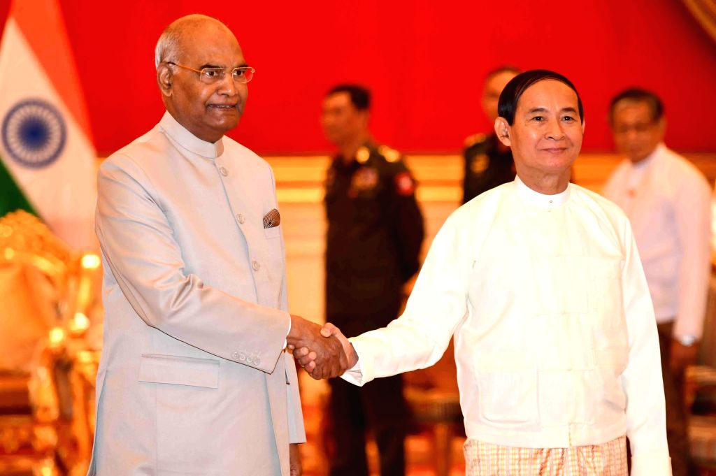 Nay Pyi Taw: President Ram Nath Kovind and Myanmar President U Win Myint during the delegation level talks at Presidential Palace in Nay Pyi Taw, Myanmar on Dec 11, 2018. - Nath Kovind