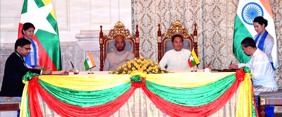Nay Pyi Taw: President Ram Nath Kovind and Myanmar President U. Win Myint witness the signing of agreement at Presidential Palace in Nay Pyi Taw, Myanmar on Dec 11, 2018. - Nath Kovind