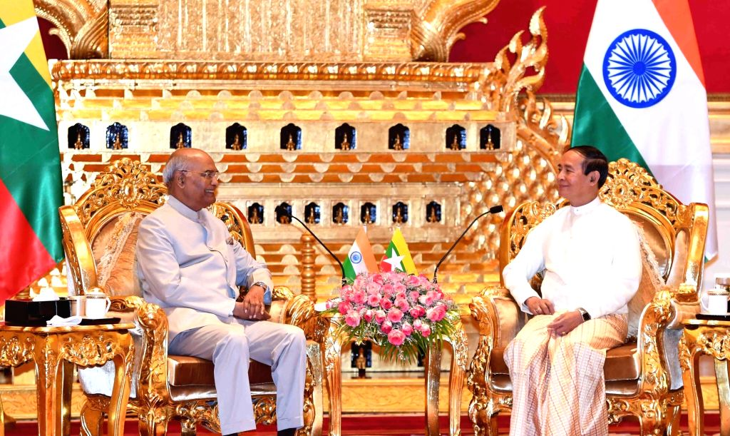 Nay Pyi Taw: President Ram Nath Kovind meets Myanmar President U. Win Myint at Presidential Palace in Nay Pyi Taw, Myanmar on Dec 11, 2018. - Nath Kovind