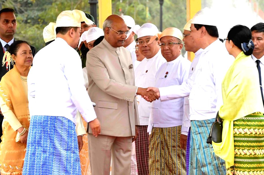Nay Pyi Taw: President Ram Nath Kovind with Myanmar President U. Win Myint during the during the introductions at the Presidential Palace in Nay Pyi Taw, Myanmar on Dec 11, 2018. - Nath Kovind