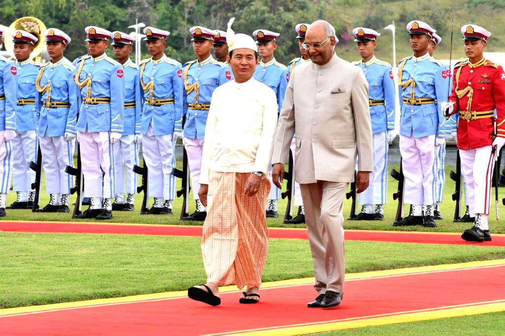 Nay Pyi Taw: President Ram Nath Kovind with Myanmar President U. Win Myint during the ceremonial reception organised for him at the Presidential Palace in Nay Pyi Taw, Myanmar on Dec 11, 2018. - Nath Kovind