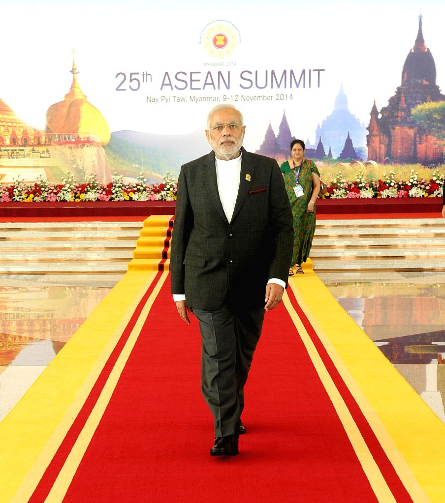 Nay Pyi Taw: Prime Minister, Narendra Modi at MICC, the venue of 25th ASEAN Summit, India-ASEAN Summit & East Asia Summit, in Nay Pyi Taw, Myanmar on Nov 12, 2014. - Narendra Modi