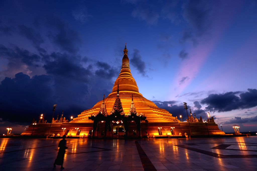 NAY PYI TAW, Sept. 12 Photo taken on Sept. 11, 2014 shows a view of the Uppatasanti Pagoda in Nay Pyi Taw, Myanmar. Uppatasanti Pagoda is a prominent landmark in the Burmese capital of ...