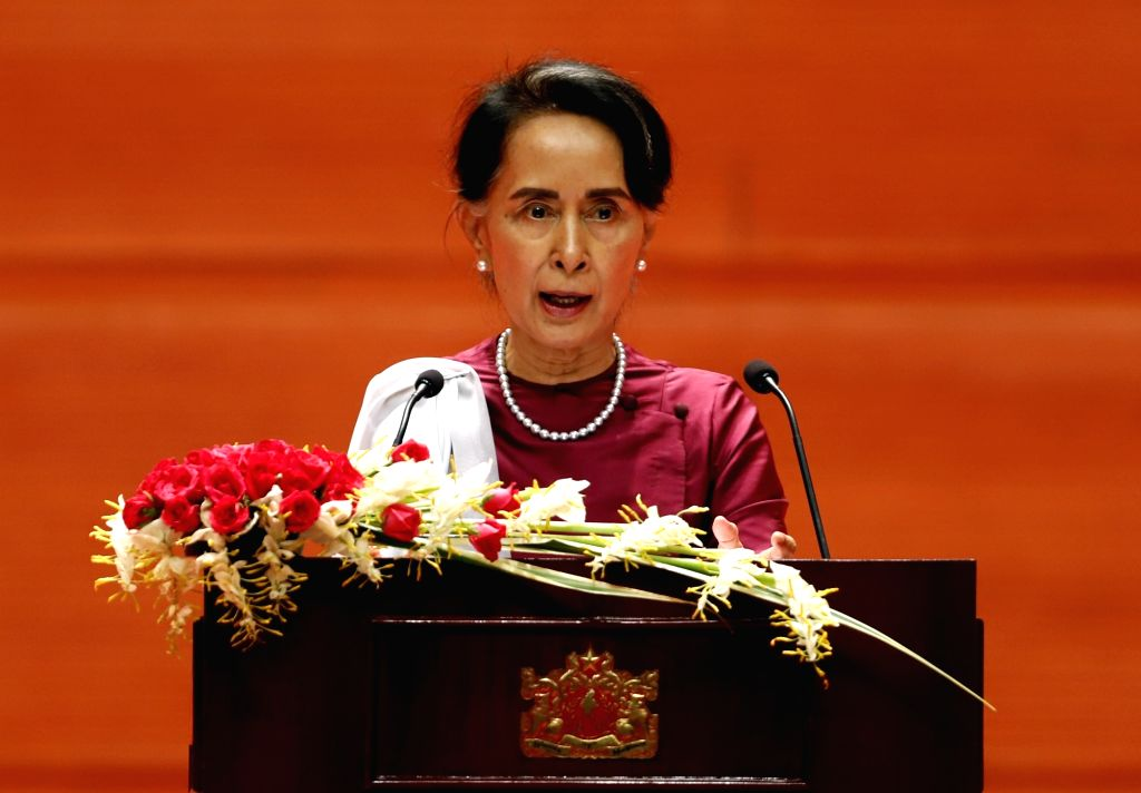 NAY PYI TAW, Sept. 19, 2017 - Myanmar State Counselor Aung San Suu Kyi delivers a speech at the Myanmar International Convention Center-2 in Nay Pyi Taw, Myanmar, Sept. 19, 2017. Aung San Suu Kyi on ...
