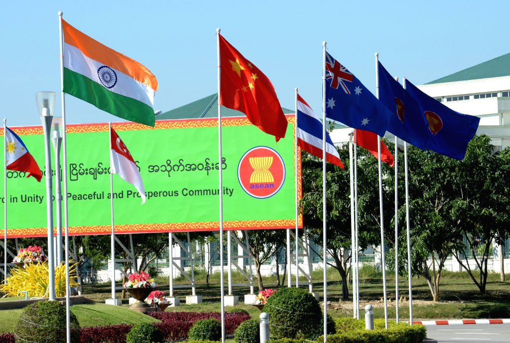 Nay Pyi Taw: The flags of ASEAN nations flutter ahead of 25th ASEAN Summit in Nay Pyi Taw, Myanmar on Nov 12, 2014.