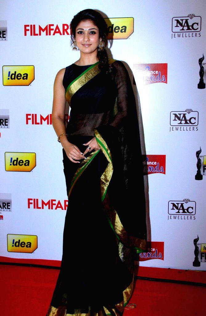 Nayantara at the `61st Idea Filmfare South Awards 2013` held in Chennai at Nehru Stadium.