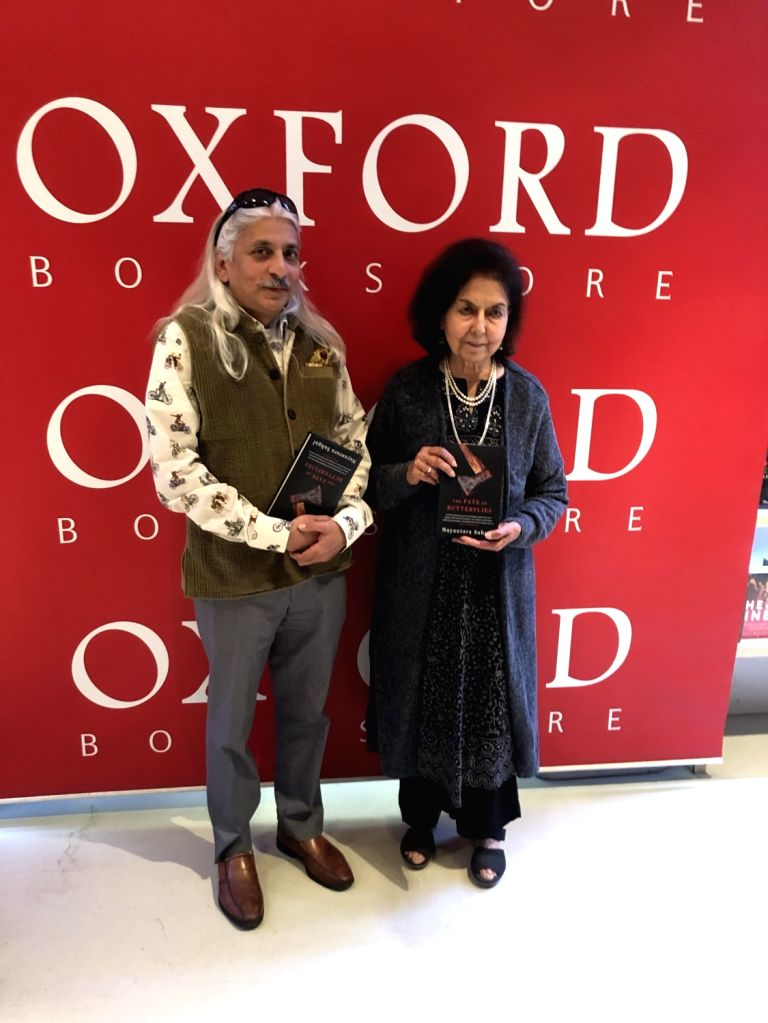 "Nayantara Sahgal and Sanjoy Roy at the launch of ""The Fate of Butterflies"" in New Delhi. - Sanjoy Roy"