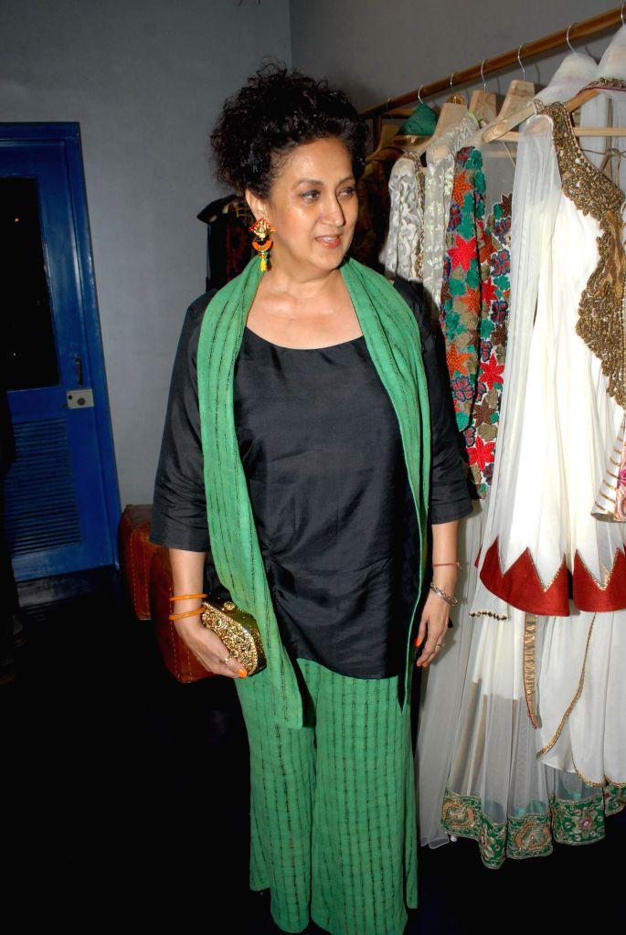 Nazneen Bedi, wife of Bollywood actor Ranjeet during the store opening of designer Mayyur Girotra in Mumbai, on April 18, 2014. - Ranjeet and Nazneen Bedi