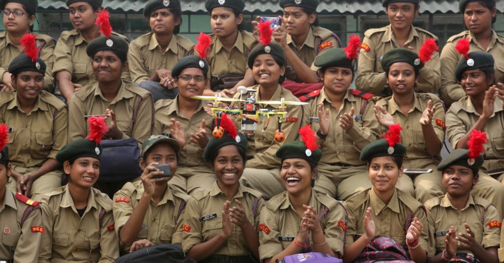 NCC cadets during 68th NCC Day Celebrations at Fort William in Kolkata on Nov 27, 2016.