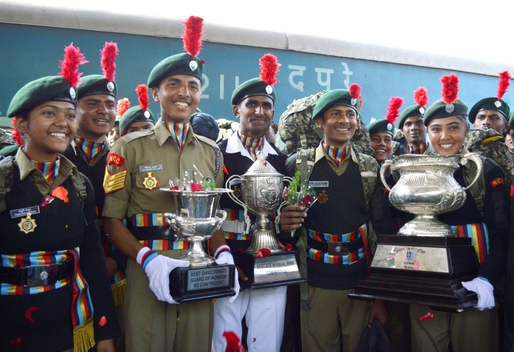 NCC cadets from Karnataka and Goa who participated in Republic Day Parade on Rajpath in Delhi; arrive at Bengaluru City Railway Station on Jan 31, 2019.