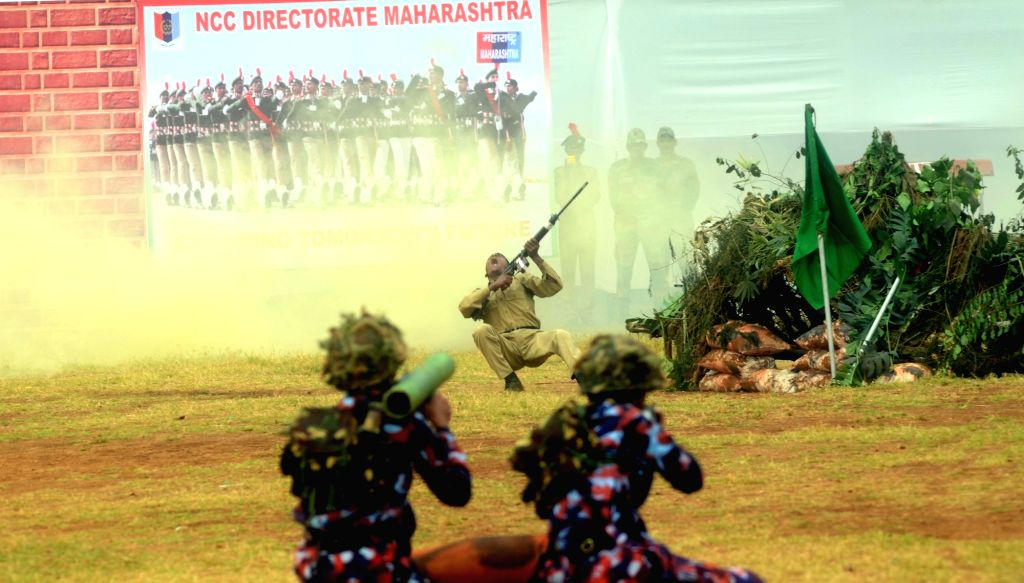 NCC cadets of Maharashtra Directorate perform section battle drill on NCC Day at Azad Maidan, CSTM in Mumbai on Feb 7, 2018.