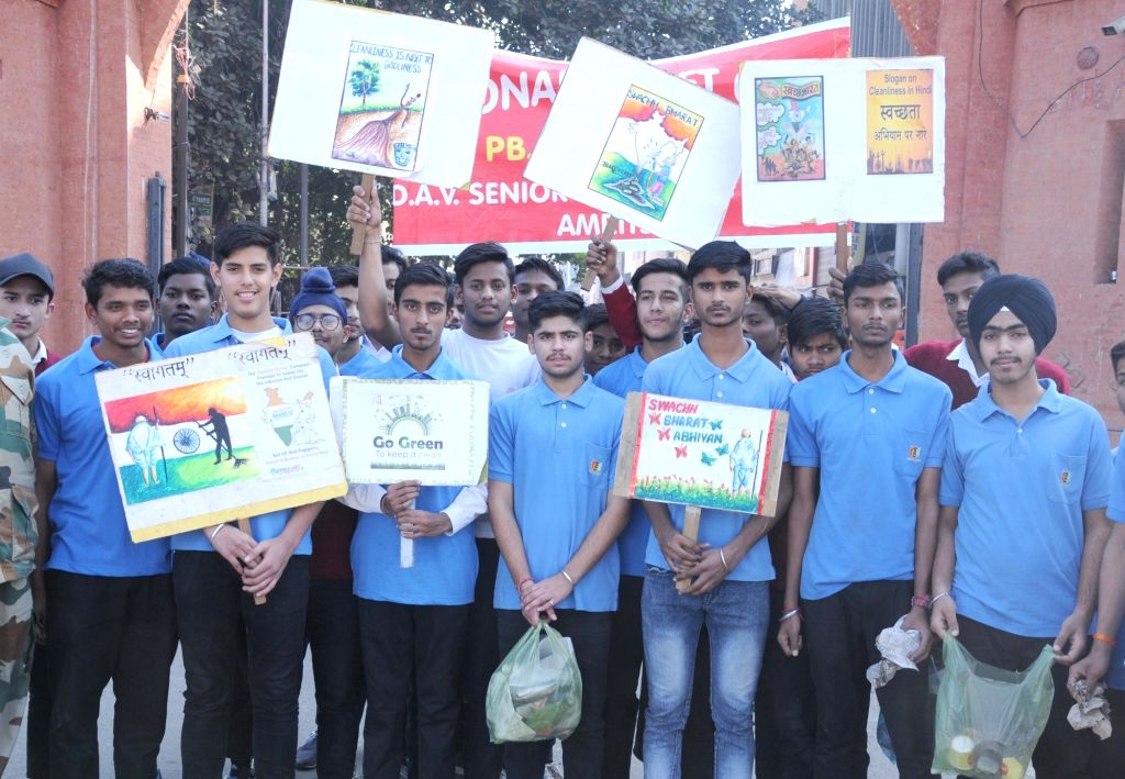 NCC cadets participate in a rally during a cleanliness drive organised on Armed Forces Flag Day, in Amritsar on Dec 7, 2019.